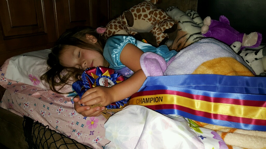 Since winning the Leadline 6-Under Trail class during the 2016 Pony Of the Americas Club (POAC) National Congress at Tulsa, 5-year-old Maguire Biggs, who lives in the Chickasha area, has chosen to taken her ribbon to bed with her each night.